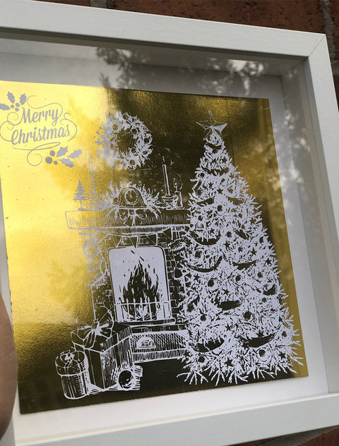 Personalised Gold Foiled Christmas Tree Box Frame 25 X 25 CM / WhiteBee Free Prints