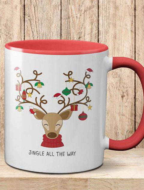 Personalised Christmas 'Reindeer Jingle All The Way Mug' - 2 Colour Bee Free Prints