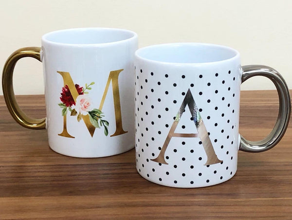 Personalised Floral Letter / Polka Dot Alphabet Shiny Mug Silver Handle White Mug / Polka Dot (Rose Gold)Bee Free Prints