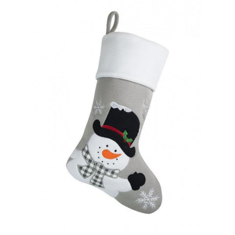 Personalised Printed Luxury Christmas Stocking Silver SnowmanBee Free Prints