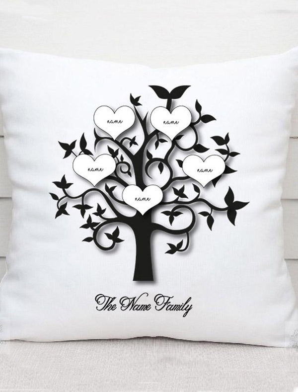 Personalised Mothers Day Family Tree Cushion Gift - Bee Free Prints