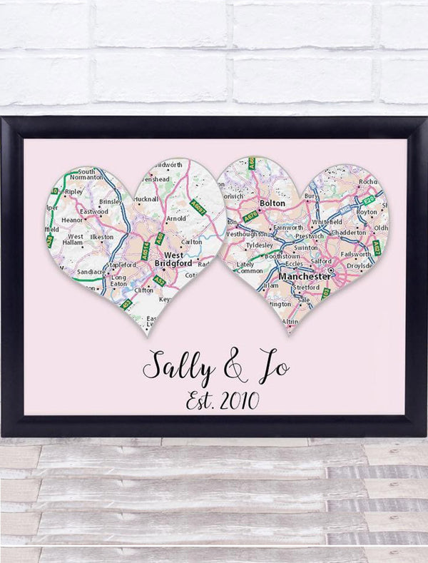 Personalised Frame Print - Couples Location - Name - Marriage Day - Where You Met Bee Free Prints