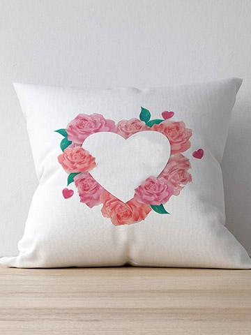 Personalised Floral Heart Cushion 40cmX39cm / White / With InnersBee Free Prints