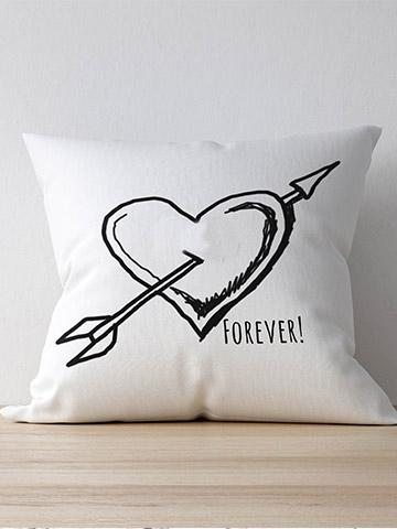 Personalised Heart Arrow Cushion 40cmX39cm / White / With InnersBee Free Prints