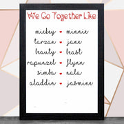 Personalise 'We Go Together Like' With Frame A4 Print / Black Framed PrintBee Free Prints