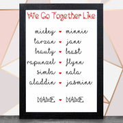 Personalise 'We Go Together Like' With Frame Bee Free Prints