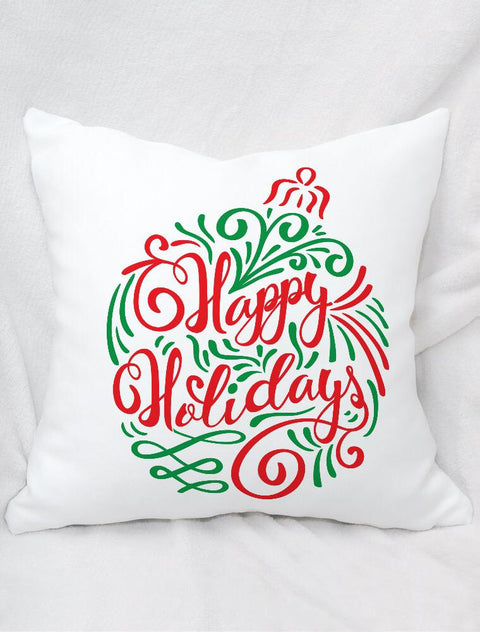 Christmas Bauble Happy Holidays Cushion Soft Peach Finish