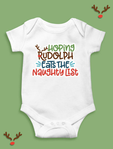 Baby Festive Bodysuit Rudolph Eat Naughty List 100% Organic Cotton