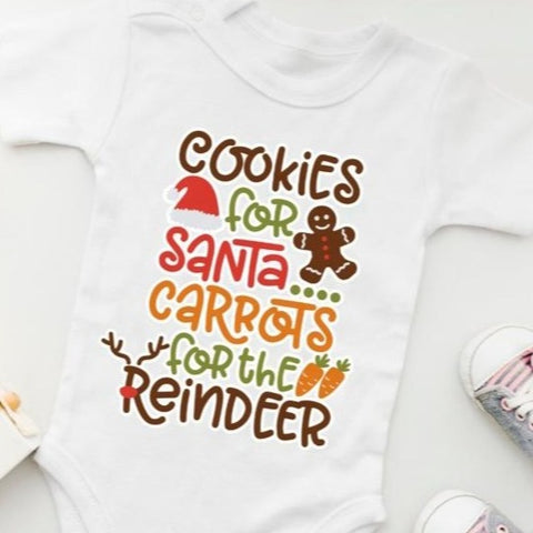 Baby Festive Bodysuit Cookies for Santa Carrots for Reindeer 100% Organic Cotton