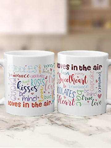 Word Art Valentine's Mugs Bee Free Prints