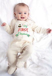 First Christmas Pudding Cute Baby Rompersuit Bee Free Prints