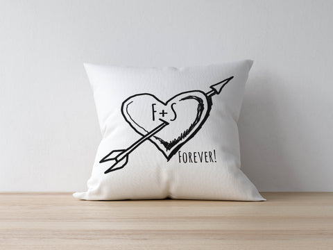 Personalised Heart Arrow Cushion Bee Free Prints