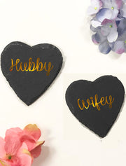 Hubby & Wifey Heart Shape Slate Bee Free Prints