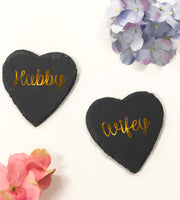 Hubby & Wifey Heart Shape Slate GoldBee Free Prints