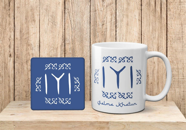 Personalised Diriliu015f Ertuu011frul Theme Kayi Tribe Logo Mug and cork Coaster Gift set Mug And Coaster SetBee Free Prints