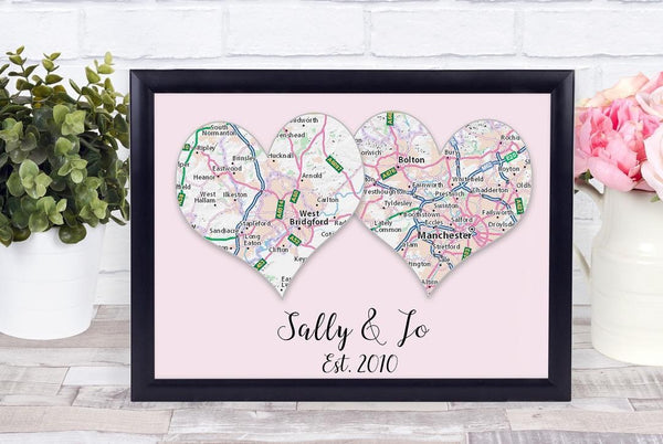 Personalised Frame Print - Couples Location - Name - Marriage Day - Where You Met Print With White FrameBee Free Prints