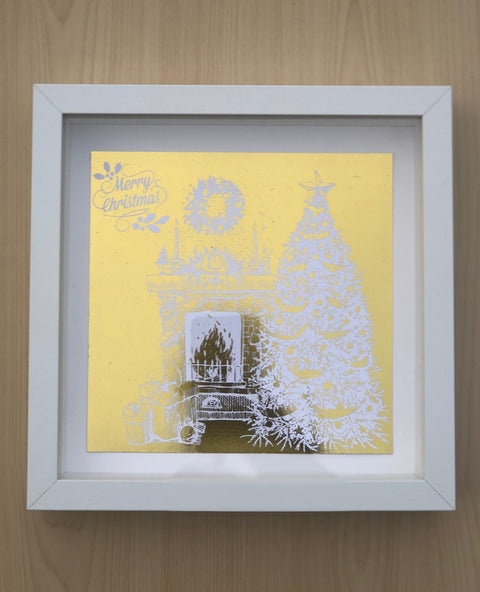Personalised Gold Foiled Christmas Tree Box Frame Bee Free Prints