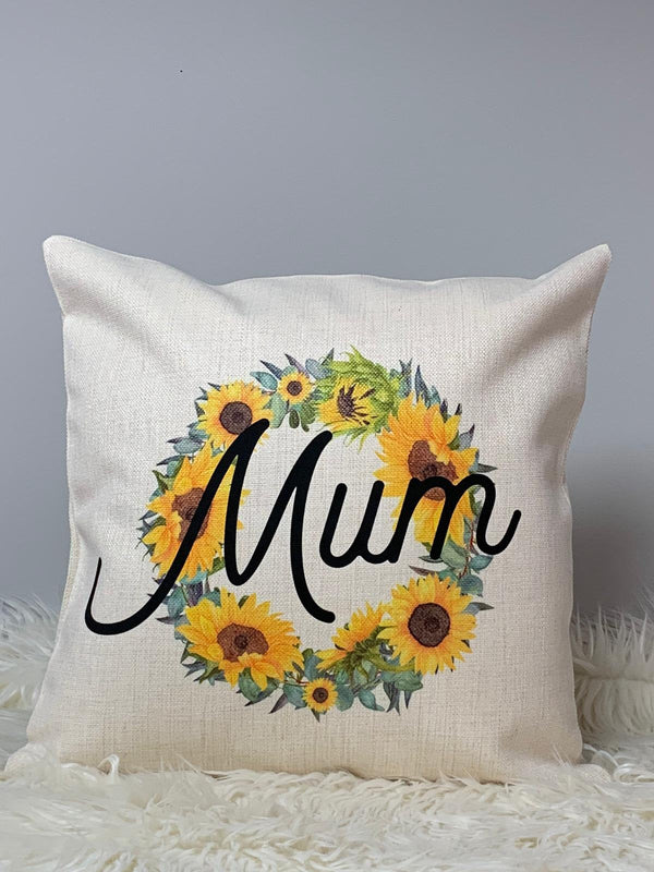 'Mum' Mother's Day Sunflowers Wreath Cushion With Poem Cushion Cover OnlyBee Free Prints