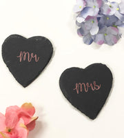 Mr & Mrs Heart Shape Slates Rose GoldBee Free Prints