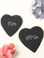 Mr & Mrs Heart Shape Slates Bee Free Prints