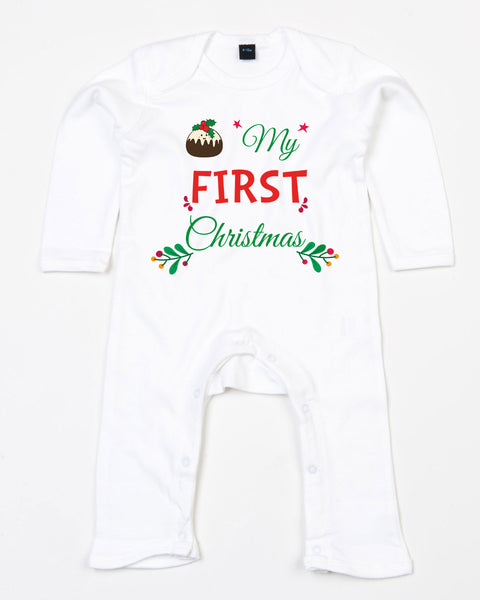 My First Christmas Romper suit with Christmas Pudding Baby Toddler Romper Bee Free Prints