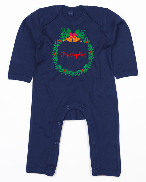 Personalised Name Romper suit with Christmas Wreath Holly Design Baby Toddler Rompersuit Bee Free Prints
