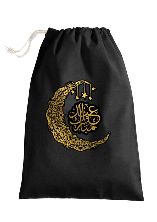 Personalised Eid Gift Sacks - 7 Design 2x Extra Large Sacks / Natural / Crescent Moon StarBee Free Prints