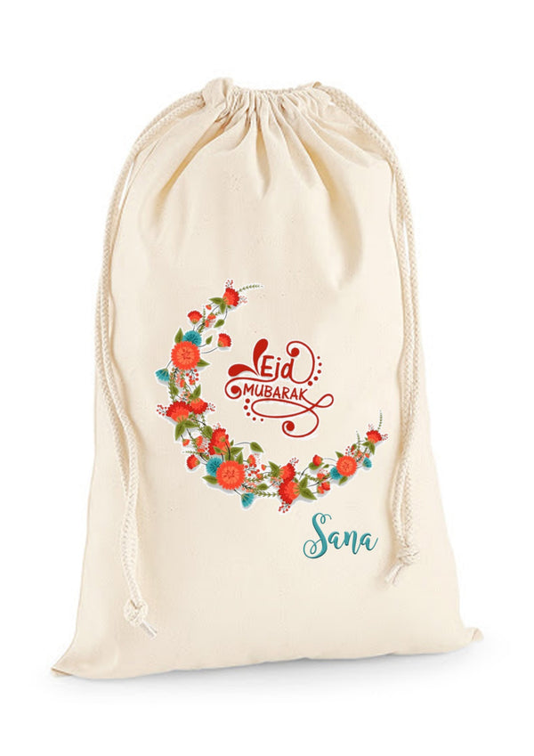 Personalised Eid Gift Sacks - 7 Design 2x Extra Large Sacks / Natural / Floral Crescent MoonBee Free Prints