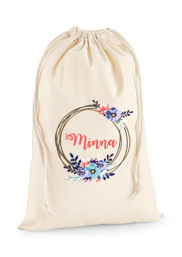 Personalised Eid Gift Sacks - 7 Design 2x Extra Large Sacks / Natural / Floral WreathBee Free Prints