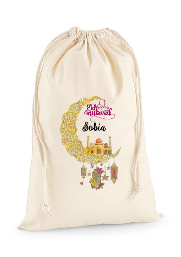 Personalised Eid Gift Sacks - 7 Design 2x Extra Large Sacks / Natural / Moon With LanternsBee Free Prints