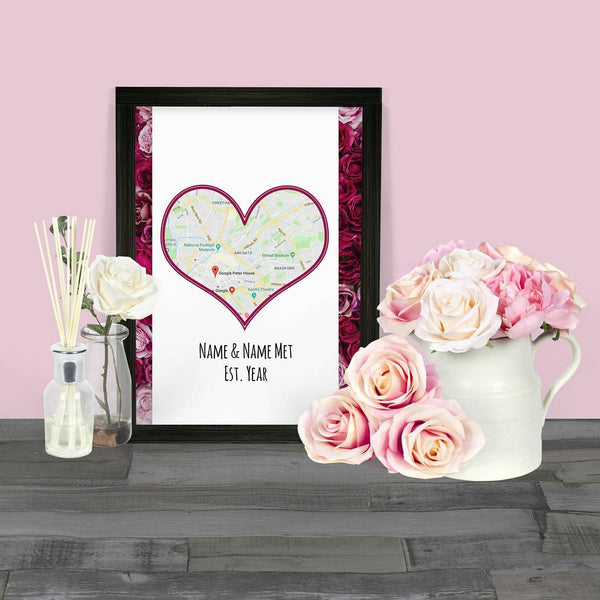 Personalise 'Map' Gift Print Frame A4 Print / With FrameBee Free Prints