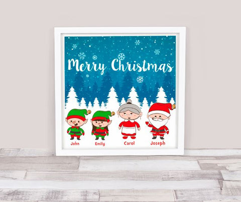 Personalised Merry Christmas Family Frame 25 X 25 CM / WhiteBee Free Prints