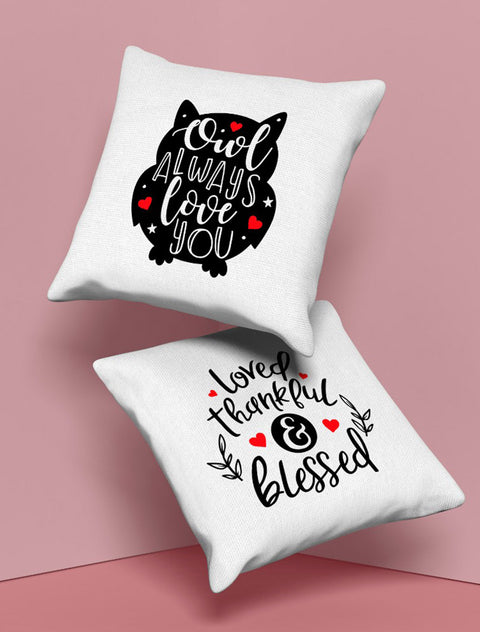 'Loved, Thankful, Blessed' Cushion Bee Free Prints