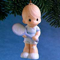 Precious Moments Serve With A Smile - Boy Ornament 102431