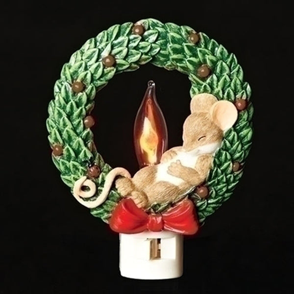 Charming Tails Mouse in Wreath Nightlight 131121