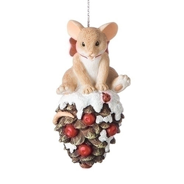 Charming Tails Mouse on Pinecone Ornament 131631
