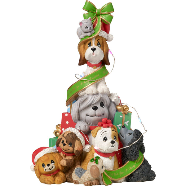 Precious Moments Dogs And Cats LED Musical Christmas Tree 171407