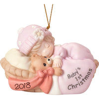 Precious Moments Baby's First Christmas Ornament 2018 Girl 181005