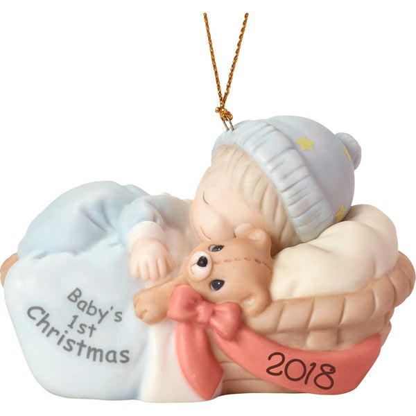 Precious Moments Baby's First Christmas Ornament 2018 Boy 181006