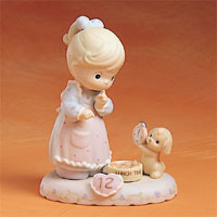 Precious Moments Age 12 - Girl W/Puppy/Clock Blonde 260932