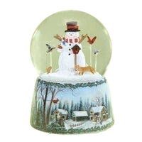 Christmas Snowman w/Birds Musical Dome 32086