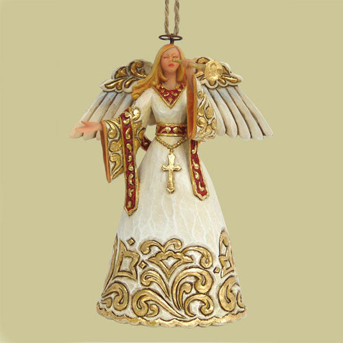Jim Shore Ivory And Gold Angel W/Trumpet 4023471