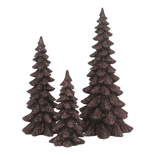 D56 Brown Holiday Trees, Set of 3 4047560
