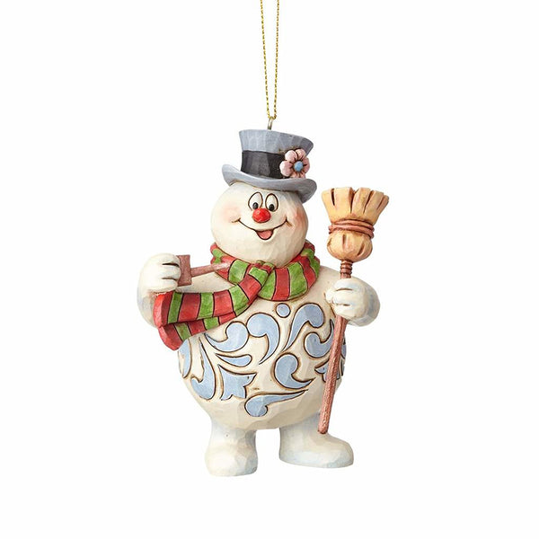 Jim Shore Frosty with Hat and Broom Ornament 4058192