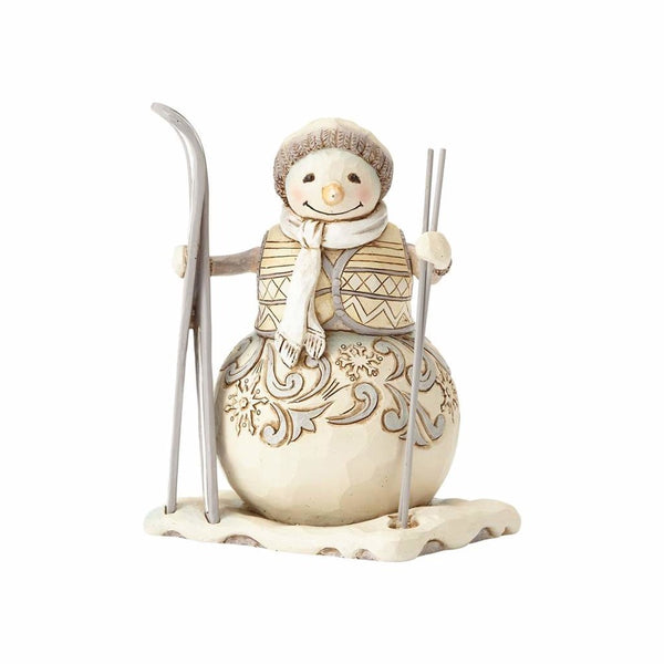 Jim Shore White Woodland Snowman with Skis 4058738