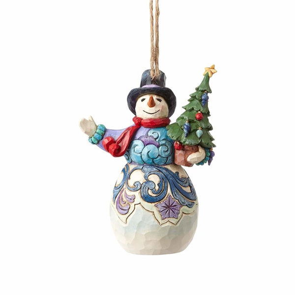 Jim Shore Snowman Holding Tree Ornament 4058835