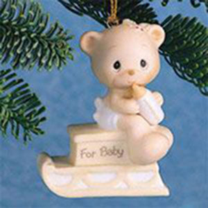 Precious Moments Bear In Sled Ornament 470279