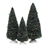 D56 Twinkling Lit Trees - Green, Set Of 3 52823