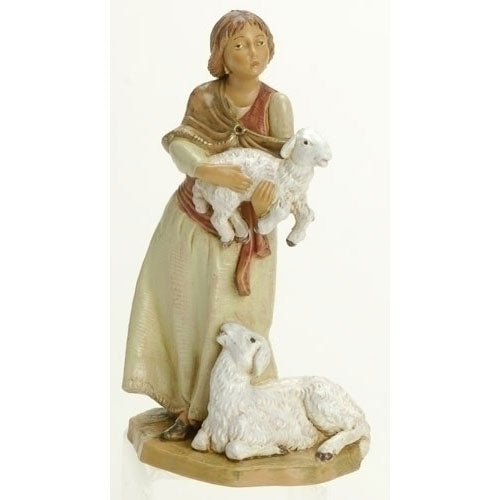 Fontanini Joan Woman Holding Sheep 54027