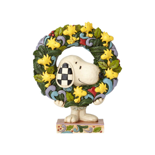 Jim Shore Ring Around the Wreath - Snoopy w/ Woodstock Wreath 6000984